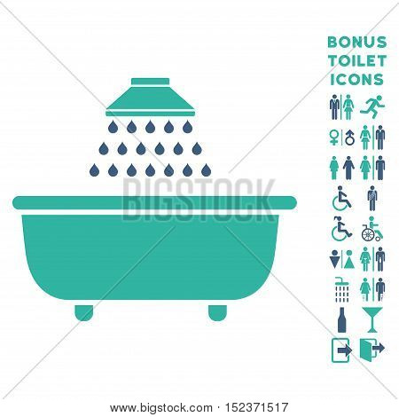 Bath Shower icon and bonus gentleman and lady toilet symbols. Vector illustration style is flat iconic bicolor symbols, cobalt and cyan colors, white background.