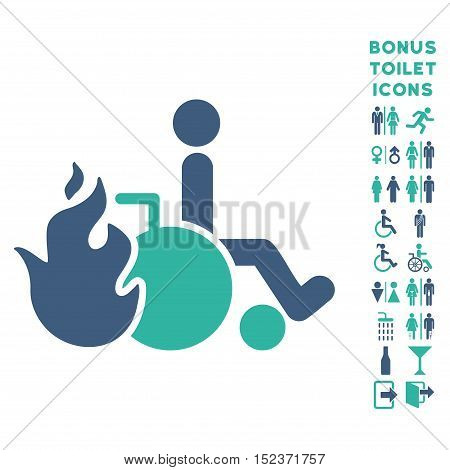 Burn Patient icon and bonus man and female lavatory symbols. Vector illustration style is flat iconic bicolor symbols, cobalt and cyan colors, white background.