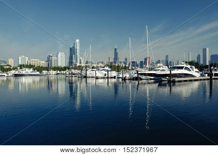 Chicago skyline in the morning with urban marina in front