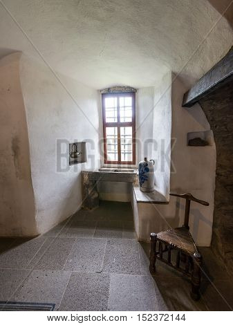 Braubach Germany - May 23 2016: Interior of the Marksburg castle (washbasin). It is one of the principal sites of the UNESCO World Heritage Rhine Gorge.