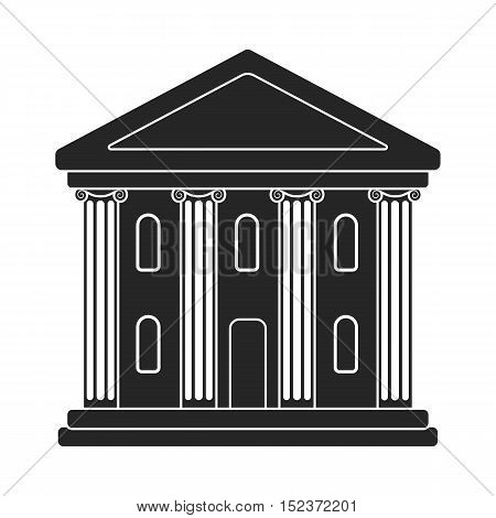 Theatre building icon in  black style isolated on white background. Theater symbol vector illustration