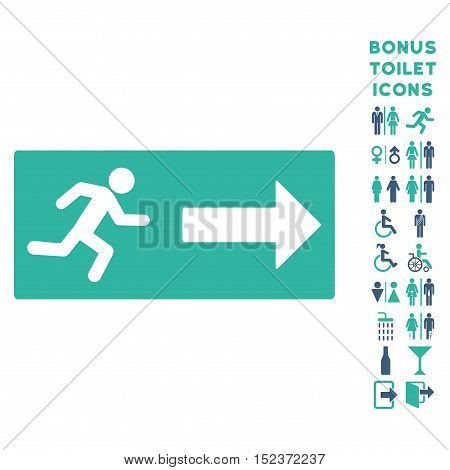 Emergency Exit icon and bonus man and female toilet symbols. Vector illustration style is flat iconic bicolor symbols, cobalt and cyan colors, white background.