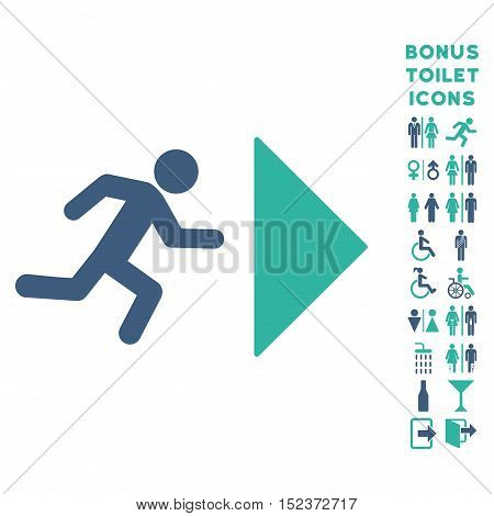 Exit Direction icon and bonus gentleman and female toilet symbols. Vector illustration style is flat iconic bicolor symbols, cobalt and cyan colors, white background.