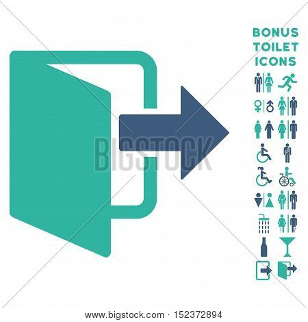 Exit Door icon and bonus man and woman restroom symbols. Vector illustration style is flat iconic bicolor symbols, cobalt and cyan colors, white background.