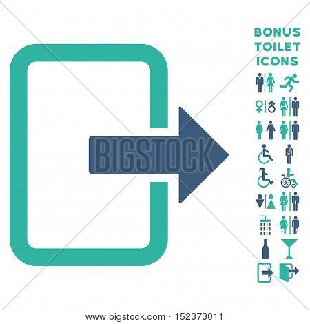 Exit Door icon and bonus male and lady lavatory symbols. Vector illustration style is flat iconic bicolor symbols, cobalt and cyan colors, white background.