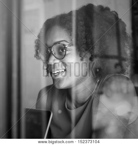 African Descent Girl Woman Casual Cafe Concept