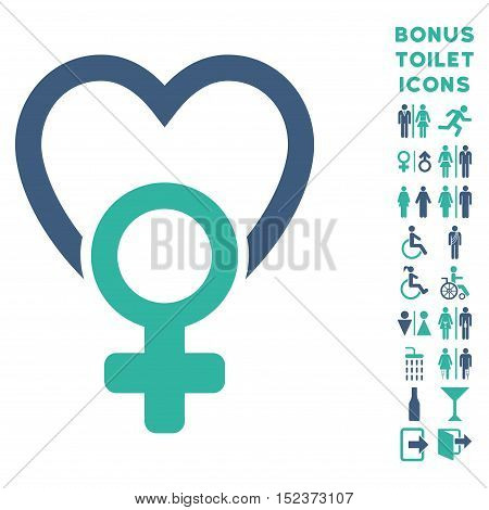 Female Love icon and bonus man and female restroom symbols. Vector illustration style is flat iconic bicolor symbols, cobalt and cyan colors, white background.