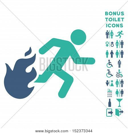 Fired Running Man icon and bonus male and female lavatory symbols. Vector illustration style is flat iconic bicolor symbols, cobalt and cyan colors, white background.