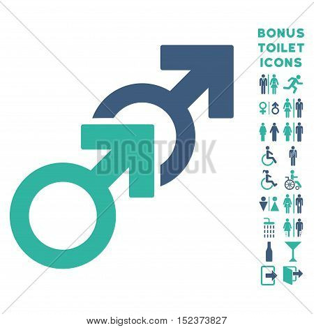 Gay Sex icon and bonus man and lady WC symbols. Vector illustration style is flat iconic bicolor symbols, cobalt and cyan colors, white background.
