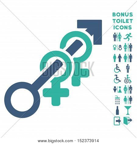 Harem icon and bonus gentleman and lady lavatory symbols. Vector illustration style is flat iconic bicolor symbols, cobalt and cyan colors, white background.