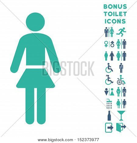 Lady icon and bonus gentleman and lady restroom symbols. Vector illustration style is flat iconic bicolor symbols, cobalt and cyan colors, white background.