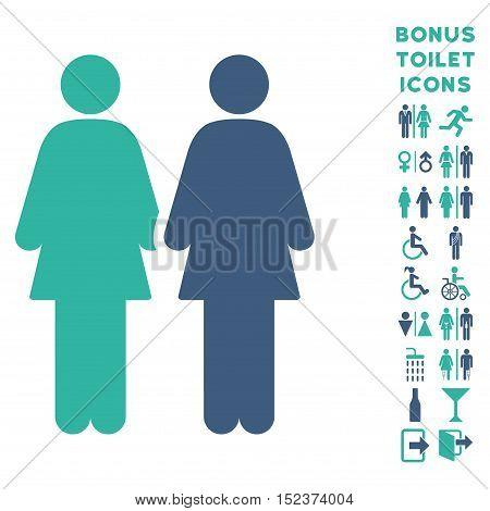 Lesbi Couple icon and bonus man and female restroom symbols. Vector illustration style is flat iconic bicolor symbols, cobalt and cyan colors, white background.