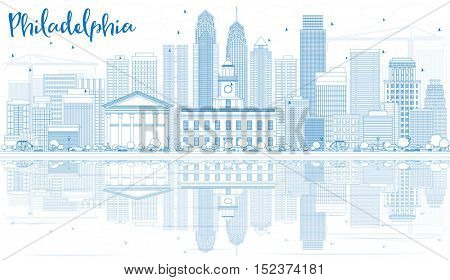 Outline Philadelphia Skyline with Blue Buildings and Reflections. Business Travel and Tourism Concept with Modern Architecture. Image for Presentation Banner Placard and Web Site.