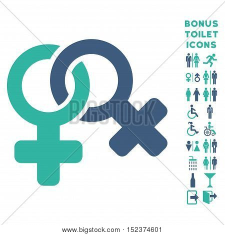 Lesbi Symbol icon and bonus male and female restroom symbols. Vector illustration style is flat iconic bicolor symbols, cobalt and cyan colors, white background.