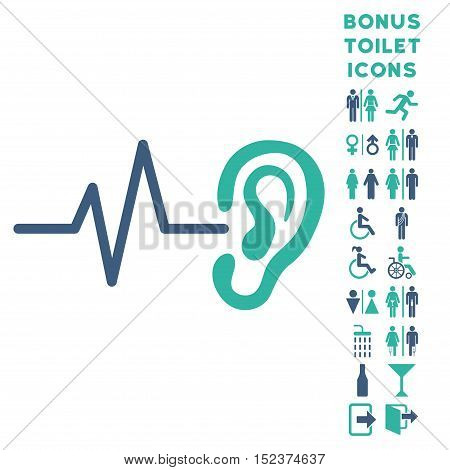 Listen Ear icon and bonus gentleman and lady toilet symbols. Vector illustration style is flat iconic bicolor symbols, cobalt and cyan colors, white background.