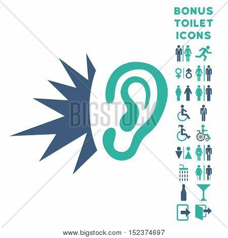 Listen Loud Sound icon and bonus man and female lavatory symbols. Vector illustration style is flat iconic bicolor symbols, cobalt and cyan colors, white background.