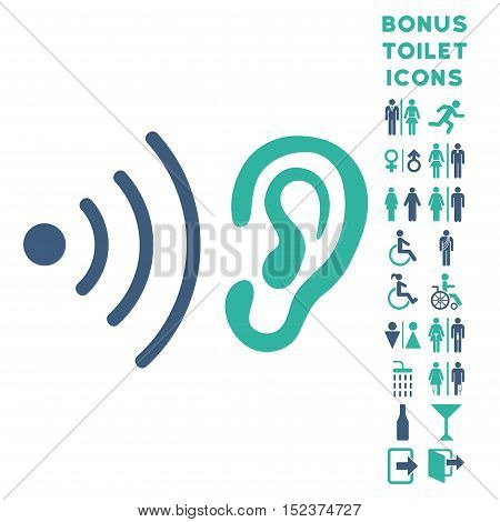 Listen News icon and bonus male and female lavatory symbols. Vector illustration style is flat iconic bicolor symbols, cobalt and cyan colors, white background.