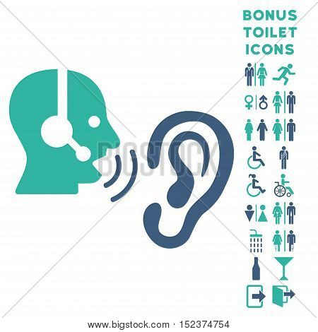 Listen Operator icon and bonus man and female WC symbols. Vector illustration style is flat iconic bicolor symbols, cobalt and cyan colors, white background.