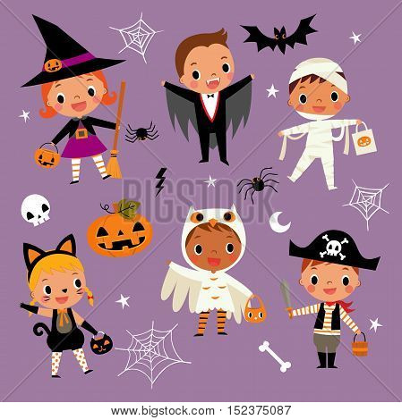 illustration set of cute happy cartoon children in colorful halloween costumes.witch, vampire, cat,owl, dracula, pirate, mummy, pumpkin, spider