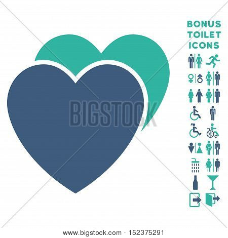 Love Hearts icon and bonus gentleman and female lavatory symbols. Vector illustration style is flat iconic bicolor symbols, cobalt and cyan colors, white background.