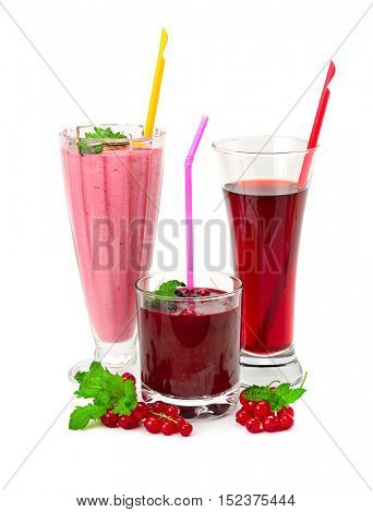 Juices and smoothies made of raspberry, currant, blueberry isolated on white background. Healthy drinks and berries.