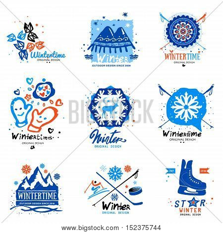 Winter illustrations and logo. Handmade winter decoration signs and symbols with a brush.