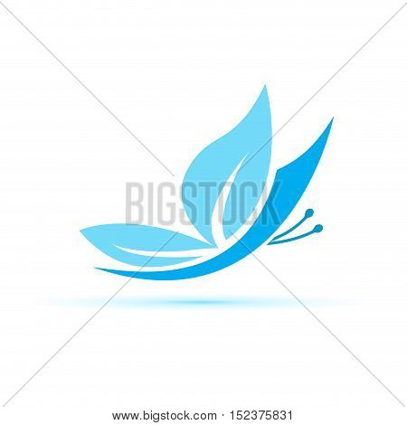 Vector sign blue Butterfly illustration isolated in white