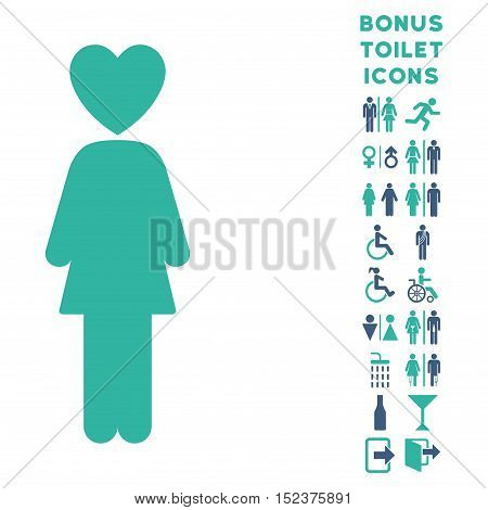 Lover Woman icon and bonus male and female WC symbols. Vector illustration style is flat iconic bicolor symbols, cobalt and cyan colors, white background.