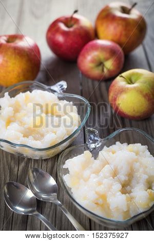Porridge from rise with apple. Food background