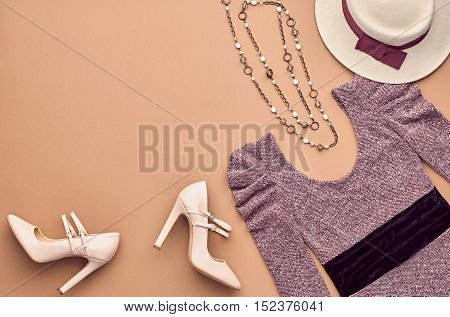 Autumn Fashion woman Clothes Accessories Set. Design fashion Concept. Top view. Stylish Lady Dress, Glamor Heels Hat. Trendy fashion Design. Fall Fashion Outfit. Vintage. Creative Overhead. Minimal