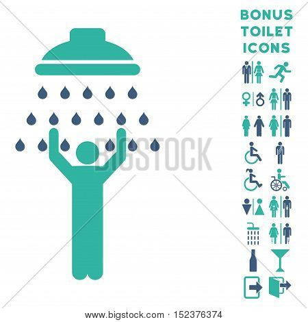 Man under Shower icon and bonus male and lady WC symbols. Vector illustration style is flat iconic bicolor symbols, cobalt and cyan colors, white background.