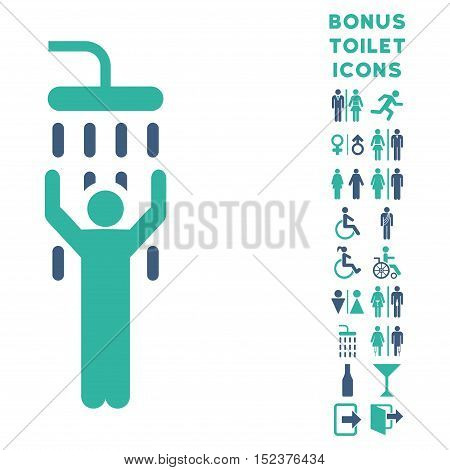 Man under Shower icon and bonus gentleman and lady WC symbols. Vector illustration style is flat iconic bicolor symbols, cobalt and cyan colors, white background.