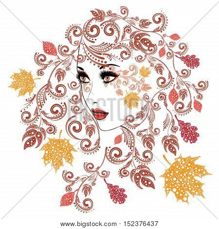 Autumn Girl With Floral