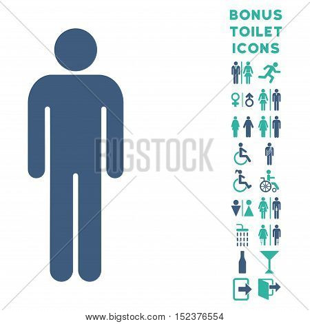 Man icon and bonus gentleman and lady restroom symbols. Vector illustration style is flat iconic bicolor symbols, cobalt and cyan colors, white background.