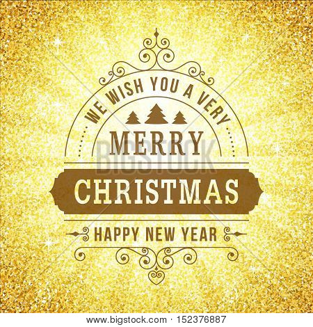 Merry christmas vintage line art background. Vector greeting card. Vintage sign on gold glitter backdrop for website banners or print design.