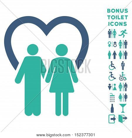 Marriage icon and bonus gentleman and lady restroom symbols. Vector illustration style is flat iconic bicolor symbols, cobalt and cyan colors, white background.