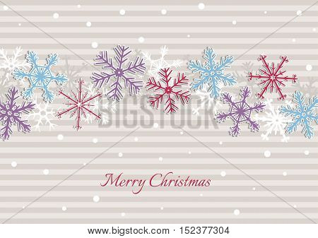 Christmas Illustration With Stripes And Snowflakes