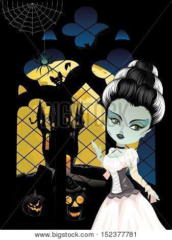 Fashion Zombie Girl Near Window