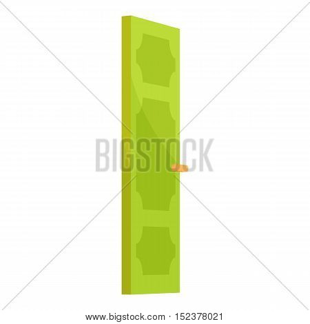 Green door icon. Cartoon illustration of door vector icon for web design