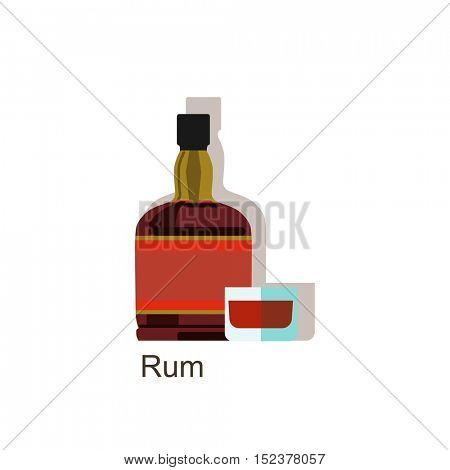Rum alcohol drink â?? vector bottle and wine glass.