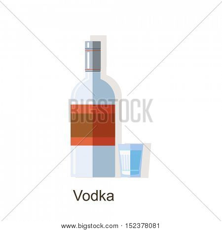 Vector vodka bottle and glass isolated