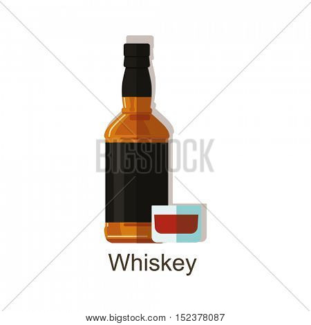 Whiskey alcohol drink â?? vector bottle and wine glasses.