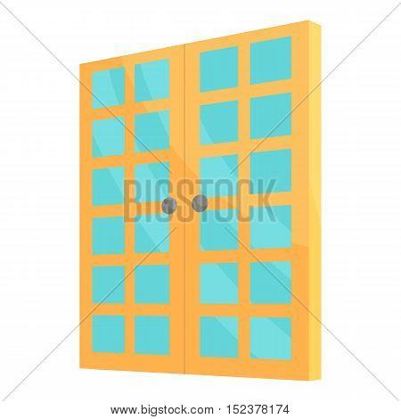 Double room door icon. Cartoon illustration of door vector icon for web design