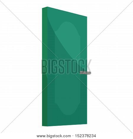 Green cabinet door icon. Cartoon illustration of door vector icon for web design