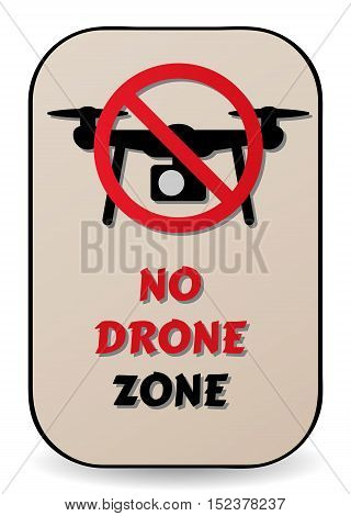 No drone sign as a symbol a ban on drones. Illustration of restriction for drone (unmanned aerial vehicle) for aerial photography.