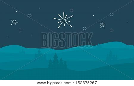Silhouette of hill with firework scenery vector art
