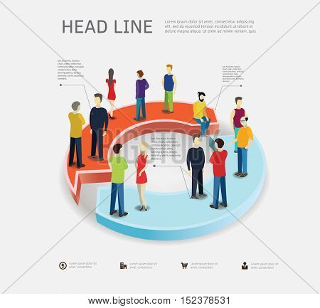 Business process concept with people standing on arrows . 3d isometric flat style