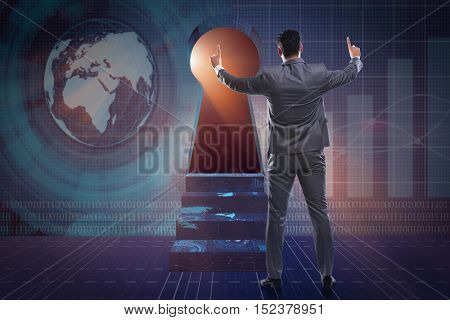 Businessman facing keyhole in business concept