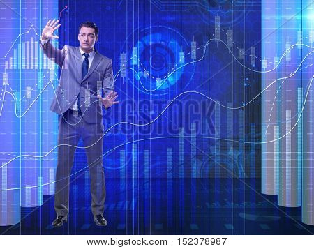 Man in stock exchange trading concept