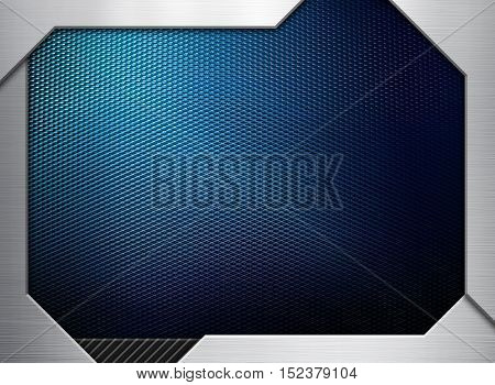 blue metal mesh with 3D frame background